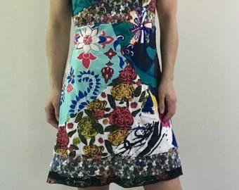Women's small/medium upcycled jersey slip dress-90's dress-artsy clothing-junk gypsy-fringethreads