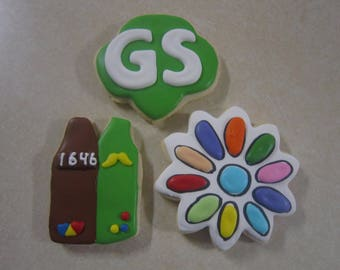 12 Girl Scout Hand Decorated Cookies