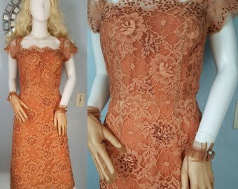 1950s 50s vintage spider web and roses lace wiggle dress illusion neckline sequins high end collectable 40s M rockabilly vlv pin up