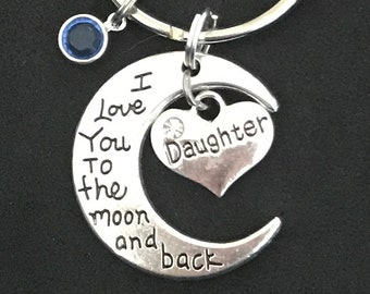 Personalized Gift for Daughter Keychain Love moon and back Daughter