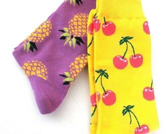 Socks, colorful, funny socks, 2pair,pineapple and cherries