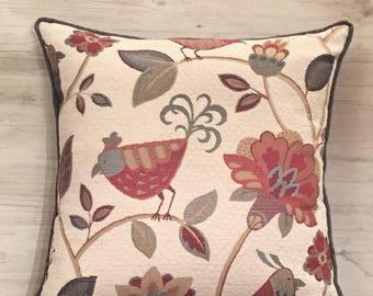 Floral Bird Pillow Cover - Bird Pillow Cover - Bird Throw Pillow - Folklore Pillow - 20x20 Pillow - Embroidered Pillow - Bird Decor