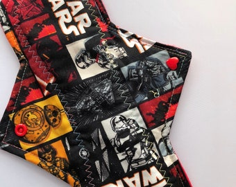 "10.25"" Star wars on cotton   Top reusable cloth pad ( regular)"