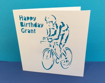 Cycling Card - Birthday Card - Cyclist - Bicycle Card - Bike Card - Paper Cut Card - Personalised - Handmade Greeting Card - Father's Day