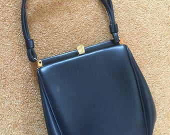 Vintage 1950s Small Navy Blue Ladies Handbag - Chamelle By Essell