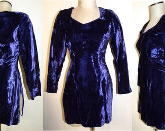 1990s 90s Betsey Johnson Crushed Velvet Mini Dress / Dark Purple / Punk / Goth / Fitted / Vintage Party Dress