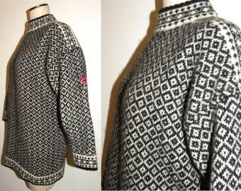 1990's 90s SWEATER / oversized / Fair Isle / Wool Bouviac Norway 94 / jumper  Vintage S/ fits XS/S