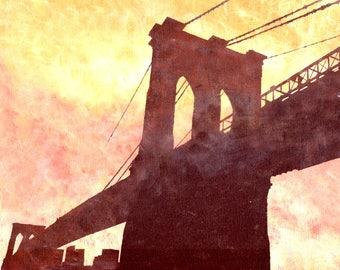 Print Brooklyn Bridge / Black / Orange / Brooklyn / 8 x 10 PRINT / Bridges / NYC