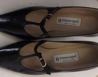 Etienne Aigner T Strap Shoes