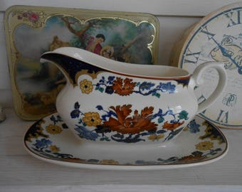 Myott Meakin gravy boat dish Franciscan Dynasty collection kismet shabby chic floral decorative french decor fixed saucer unique lily maud