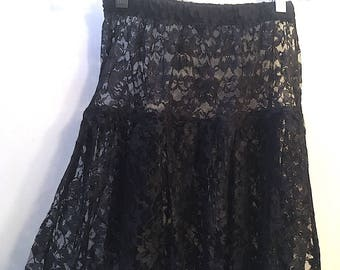 Vintage 80's Black Lace Skirt, Black Lace Tiered A-Line Skirt Size Small, Vintage Midi Sheer Skirt, Festival Over-Skirt, Bohemian Skirt Slip