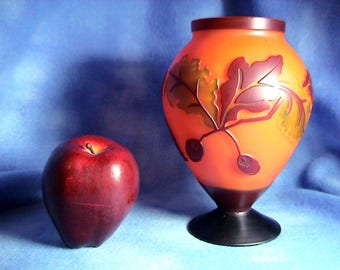 Vintage Cameo Glass Vase, Autum Color Motif, Free Shipping (348)