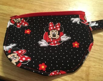Black polka dots Minnie Mouse Wristlet