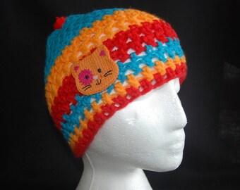 Crochet cat children's hat , red and blue crochet hat