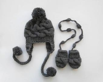 SALE 15% DISCOUNT Newborn Baby Winter Hat and Mittens , Baby Boy Hat and Mittens  , Knit Baby Hat and Mittens for Baby