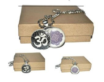 Interchangeable ohm,om and mandala yoga pendant on a stainless steel ball chain