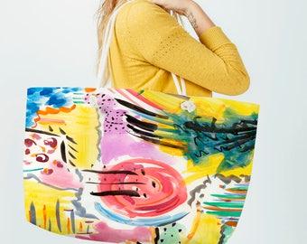 Women's Weekender Bag - Weekender Tote - Diaper Bag - Weekend Travel Bag - Beach Tote Bag - Overnight Bag - Canvas Tote - Rope Handles