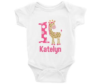 Pink Giraffe 1st Birthday Girl Onesie Design, Custom Made to Order from Mary and Peanut Kids, Personalized M109