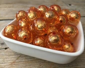 20mm Orange Transparent Foil Chunky Bead, Halloween Bubblegum Bead, Fall Acrylic Bead, DIY Chunky Necklace, 10 Count