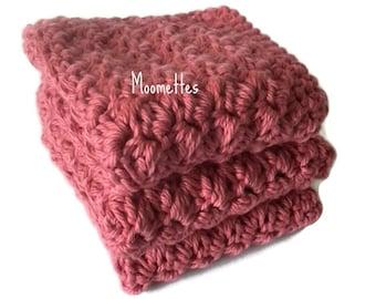 Handmade Kitchen Dish Cloths Dark Pink Rose Dishcloths Cotton Wash Cloths Crochet Set of 3