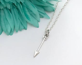 Arrow necklace -  one arrow  with chain necklace - fun necklace - silver necklace with lobster clasp - great gift - comes wrapped
