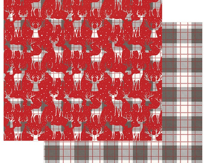 2 Sheets of Photo Play MAD 4 PLAID CHRISTMAS 12x12 Scrapbook Cardstock Paper - Festive