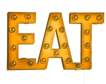Eat Marquee Rusted Metal Vintage Inspired Lighted Sign Large Size