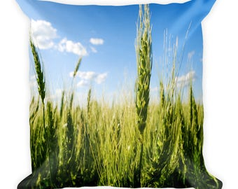 Square Pillow - Red Silo Original Art - Green Wheat