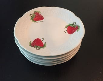French Strawberry Porcelain Snack Plates - Set of 5 Strawberry Plates - Made in France