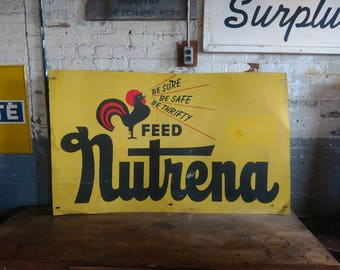 Nutrena Feed Sign Farm Barn Rustic Kitchen Advertising Agricultural Non Porcelain