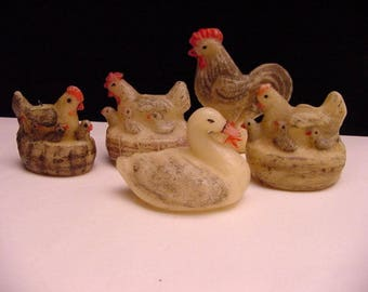 5 antique wax animal figures