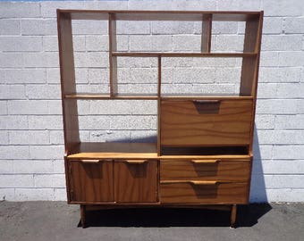 Desk MCM Wall Unit Mid Century Modern Danish Style Bookcase Divider Storage Display Bookcase Bookshelf Etagere Storage Laptop Table Cubbies