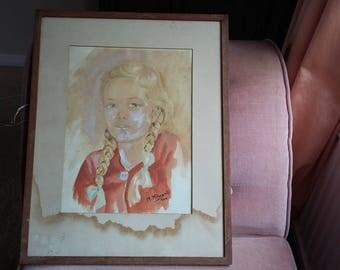 Large Watercolour Original Portrait of a Girl with Ponytails 1944