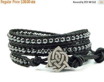 SALE Leather Wrap Bracelet Hematite Gemstones Celtic Sister Knot Button Black Beaded Jewelry