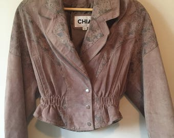 Vintage 1990s tan Chia leather jacket