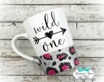 Wild One ~ Cheetah Print Glittered Coffee Mug ~ Vinyl Mug ~ Personalized Mug ~ Sassy Coffee Mug