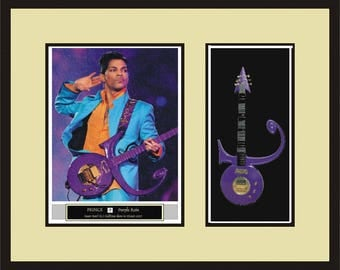 PRINCE Miniature Guitar Shadowbox Purple