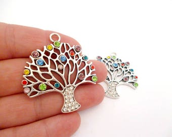 """Silver Tone Large Charm Pendant NAC08212008/3324_Silver Charms With rhinestones_ Tree of 42x45 mm / 1,65""""x 1,77""""_ pack 1 pcs"""