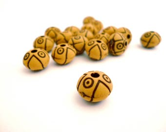 Brown Resin Beads_NC5400/65284_Resin Decorative Beads of 10x8 mm hole 2 mm _ pack 15 pcs