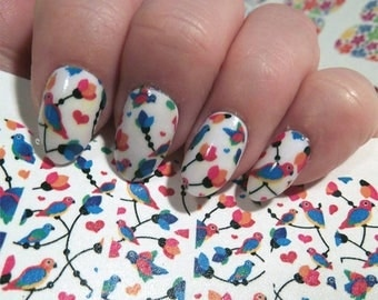 Tropical nails etsy on sale 18 parrot nail art decals part tropical nails water transfer stickers for prinsesfo Choice Image