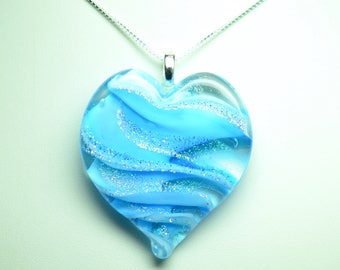 Lampworked Ribbon Stardust Art Glass Heart Pendant, Aqua with Gold and Silver Stardust