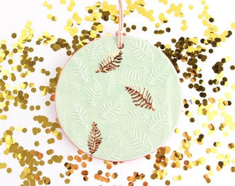 Gold Leaf Christmas Ornament, Colorful Christmas Tree Ornament, Holiday Decor, Ceramic Ornament, Gold Ornament, Christmas Tree Decor