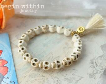 White Skull Tassel Bracelet | Goddess Kali Bracelet | Stackable Bracelet | Skull Jewelry for Women