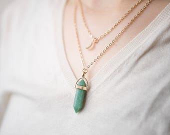 Double Layered Necklace - Jade Stone - Moon Charm