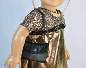 American Girl or 18 Inch Doll Party Evening DRESS in Gold Black Lame and Sequins Necklace PURSE and SHOES