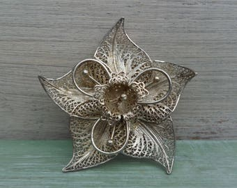 Vintage Filigree Floral Brooch, Silver Toned Metal Flower Pin