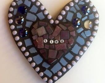 Sing Mixed Media Mosaic Heart- Whimsical Home/Garden Decor