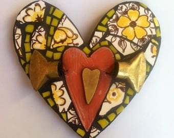 Shabby Chic Mixed Media Mosaic Heart with Wings-Yellow & Orange Whimsical Garden Art and Home Decor