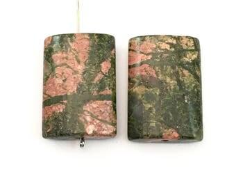 2 Unakite stone bead puffed rectangle 25mm x35 mm #PP122