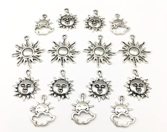 15 sun charms antique silver 20mm to 28mm #CH 206
